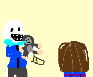 Sans offering a Gorrila to Frisk