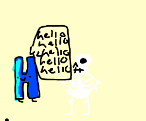 an H is reapeatedly greeting a skeleton