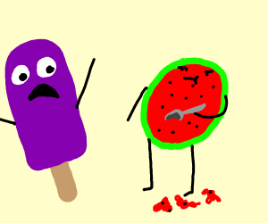 Melon scoops out innards in front of popsicle