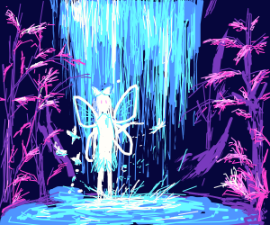 luminescent fairy under a waterfall