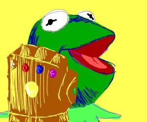 Muppet has the infinity gauntlet