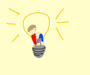 Person in a lightbulb