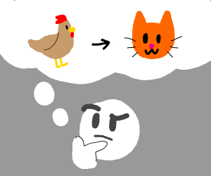 Man wonders how a chicken can become a cat