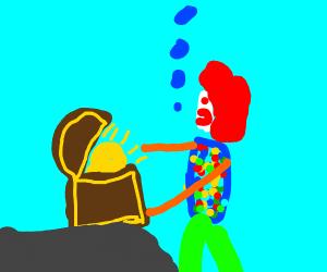 Clown finds treasure chest!