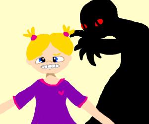 Dark shadow creeps on child