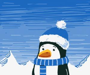 a fat little penguin wearing blue clothes