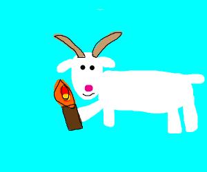 Goat has a torch