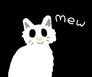 White cat meowing