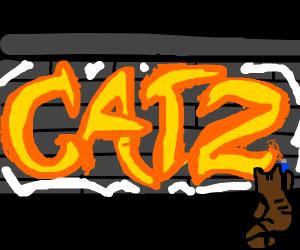 Brown Cat Spraying Graffiti