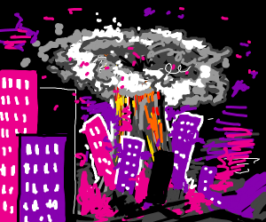 neon pink, purple and black city explodes