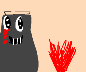 A Cute Volcano Looking at Lava