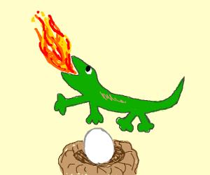 Fire-breathing lizard on an egg