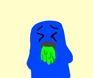 Blue body with Barfing emogi