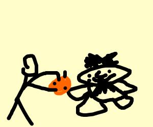some guy feeding a caveman an orange