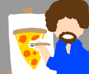 Bob Ross paints a cool pizza