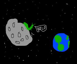 green caterpillar alien needs help
