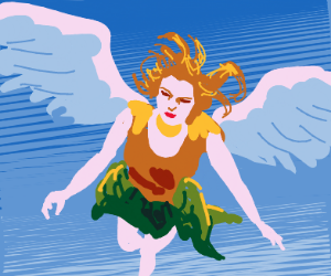 Person with wings flying through blue sky