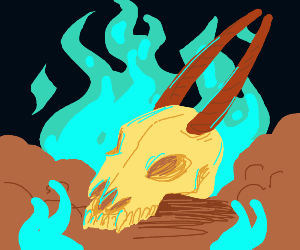 It's beastly skull rested amid blue flames