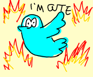 Cute bird surrounded by flames (but he's ok)