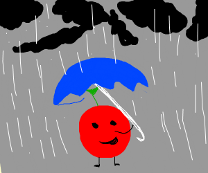 cherry in rainstorm with black clouds