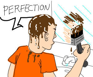 Man is painting himself some hair