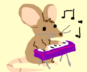 mouse playing purple electric keyboard