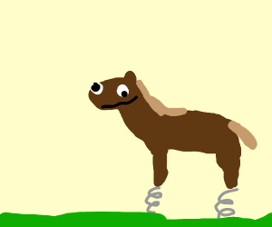 Derpy horse with springs on its feet