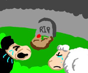 two sheep mourn their sheep-friend