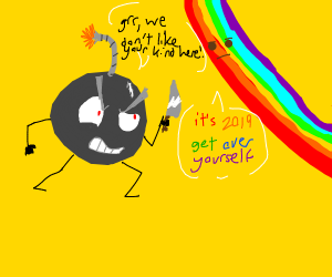 cartoon bomb with knife threatens rainbow man