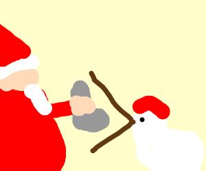 Santa feeding socks to chicken.