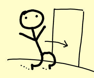 Stickman tip toeing into a room