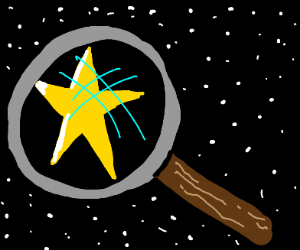 magnifying glass on a star