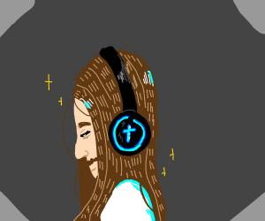 Jesus poster wearing headphones