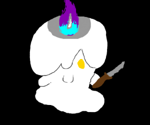 litwick with a knife.