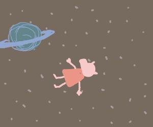 Peppa P. floating in space