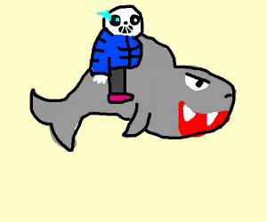 Sans (Undertale) riding shark (animal)