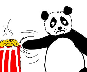Panda's trying to help popcorn breathe
