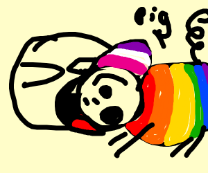 Person eating Pride month Pig
