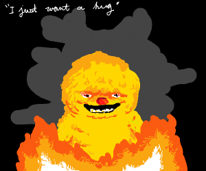 Yellow creature on fire in need of hug