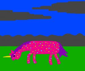 Sprinkles-coated unicorn grazing at dusk
