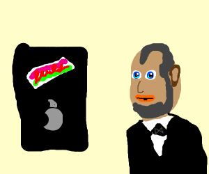 Abraham Lincoln puts stickers on his phone.