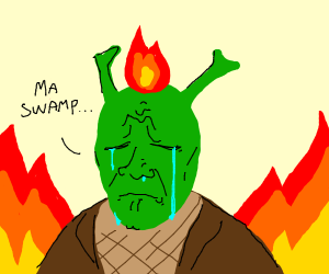 shrek is burning