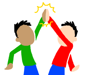 two people high five each other