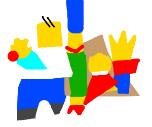 Simpsons made of abstract shapes