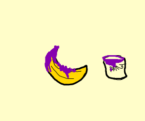 Banana being covered in purple paint