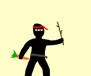 Ninja with a carrot and a stick