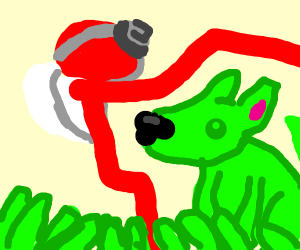 poke ball catching grass type dog
