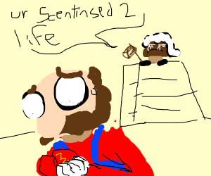 mario faces the actions of his consequences