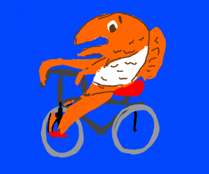 A fish on a bicycle
