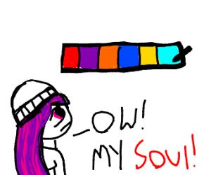emo man's soul hurts looking at bright colors